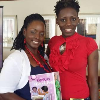 Author Kandra Ferguson Brown pictured on right appears at book signing for Hair I Am