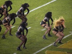 Beyoncé performs during halftime of the NFL Super Bowl 50 football game Sunday, Feb. 7, 2016, in Santa Clara, Calif. (AP Photo/Charlie Riedel)