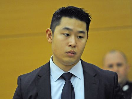 New York City Police Officer Peter Liang appears during closing arguments in his manslaughter trial, Tuesday, Feb. 9, 2016, at Brooklyn Supreme court in New York.  The rookie police officer who shot an unarmed man in a dark public housing stairwell says what happened was a deadly accident. Prosecutors call it manslaughter and say he acted recklessly and then did little to help the dying man. Jurors could start deliberating as soon as Tuesday on whether Liang's actions amounted to a crime.  (Gregory P. Mango /New York Post via AP, Pool)