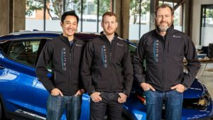 Cruise Automation co-founders Daniel Kan, from left, and Kyle Vogt, along with GM President Dan Ammann. (GM photo)