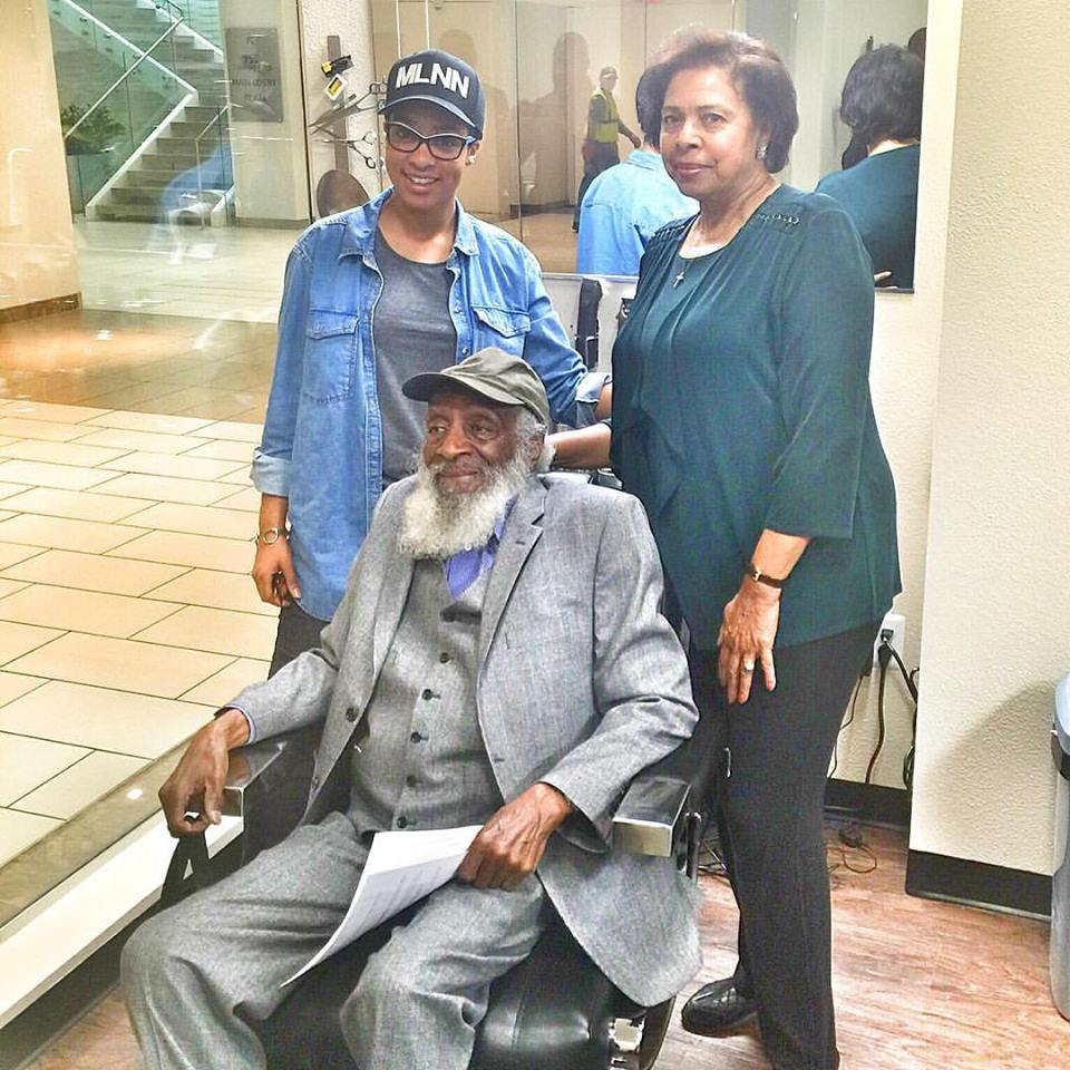 Pictured: Phylicia Goins, Dr. E. Faye Williams, National President & CEO of the National Congress of Black Women & Dick Gregory @therealdickgregory stops by She's The Barber Studio; first black own business in L'Enfant Plaza.