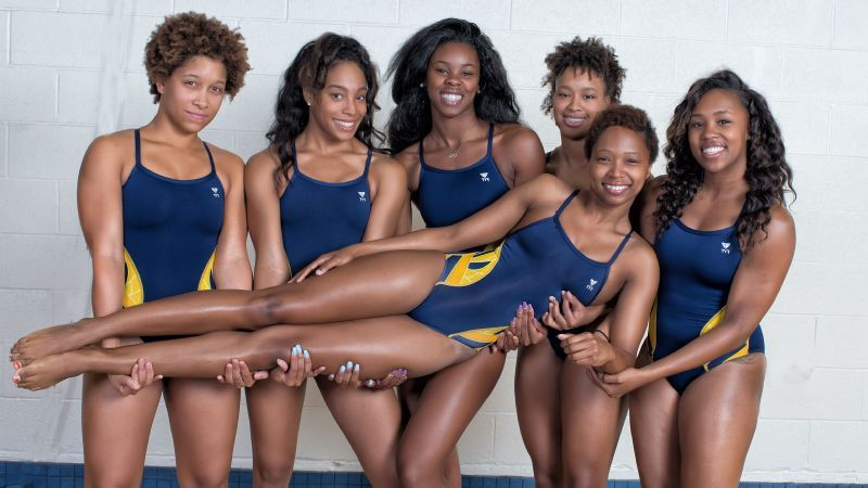 Photo by Kevin L. Dorsey A&T seniors (from left) Aarica Carrington, Dominique Crable, Victoria Orr, Kenya Dunn, Jade Hill and Miranda Jacobs (elevated).