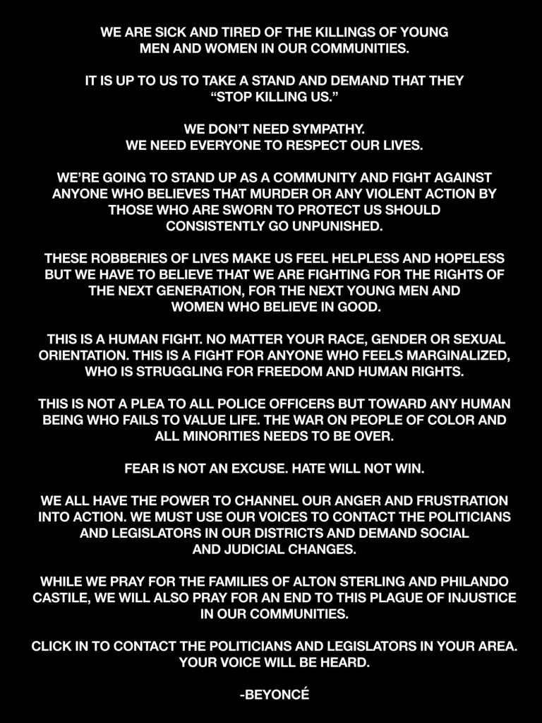 Beyonce open Letter