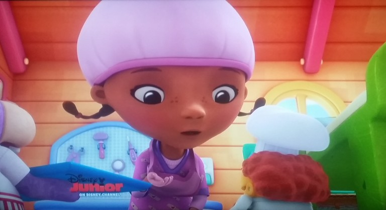 Doc McStuffins in a hair bonnet. Photo Credit: Jozie Scott