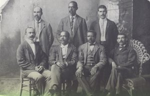 """Portrait of some of the Founders of Mechanics & Farmers Bank, Durham, NC."" Courtesy of from LearnNC. Available from http://www.learnnc.org/lp/multimedia/13112"
