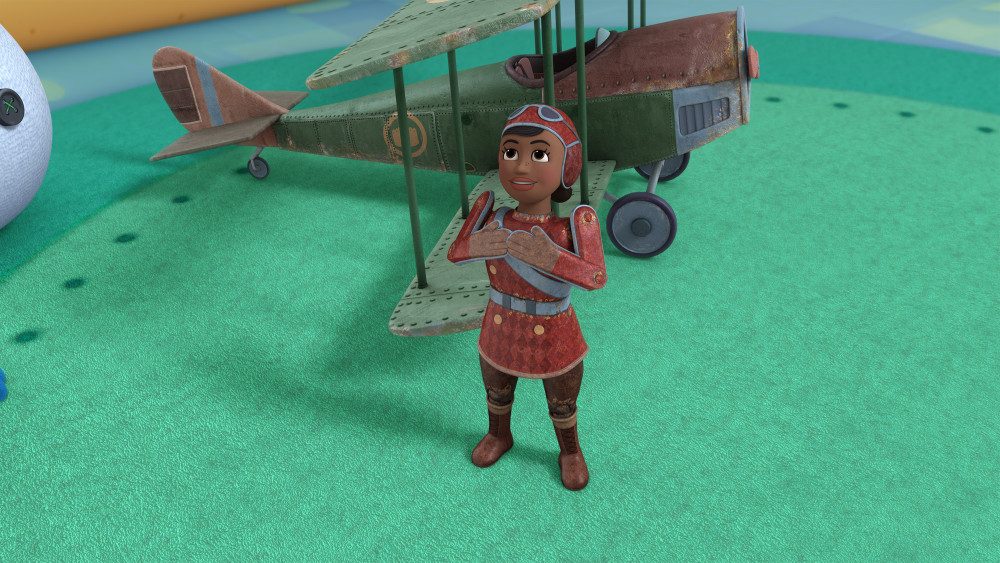 "DOC MCSTUFFINS - ""Itty Bitty Bess"" - Doc and the toys help a tiny tin airplane pilot named Bess, a historical toy created in the likeness of the famous African-American female pilot, Bessie Coleman, get back into shape after her joints become rusty. Multiple Grammy and Tony Award-winner Audra McDonald (""Porgy & Bess"") guest stars as Bess in this episode of Disney Junior's Peabody Award-winning ""Doc McStuffins"" premiering THURSDAY, JULY 23 (9:00 a.m., ET/PT) on Disney Channel. (Disney Junior) BESS"